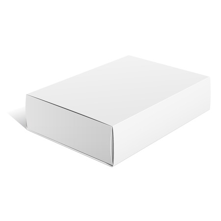 Realistic White Package carton Box. For Software, electronic device and other products. Vector illustration.