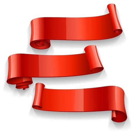 ribbon: Realistic Red Glossy ribbons set