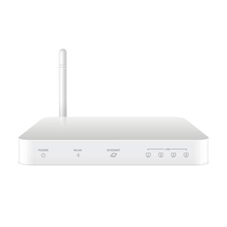dsl: Router Wireless Bianco realisti con l'antenna. Segni su un livello separato