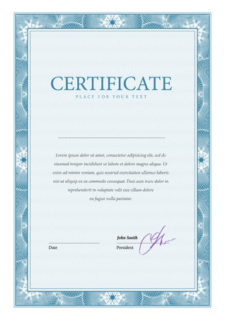 sertificate: Certificate. Vector pattern that is used in currency and diplomas Illustration