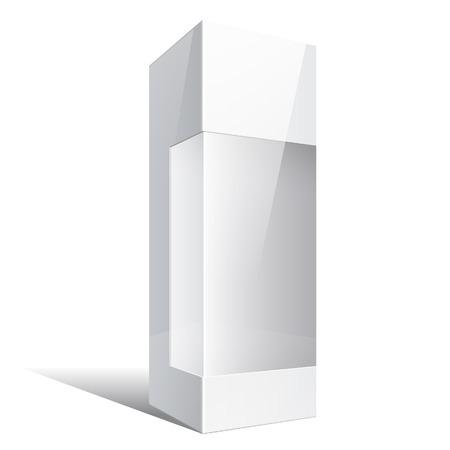 carton: Luz Paquete realista caja de cart�n con una ventana de pl�stico transparente. Ilustraci�n vectorial