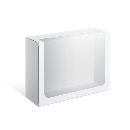 plastic window: Light Realistic Package Cardboard Box with a transparent plastic window. Vector illustration Illustration