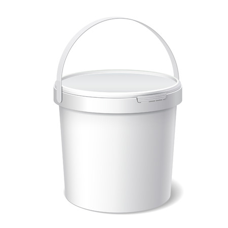 Small White plastic bucket. Product Packaging For food, foodstuff or paints, adhesives, sealants, primers, putty. Vector