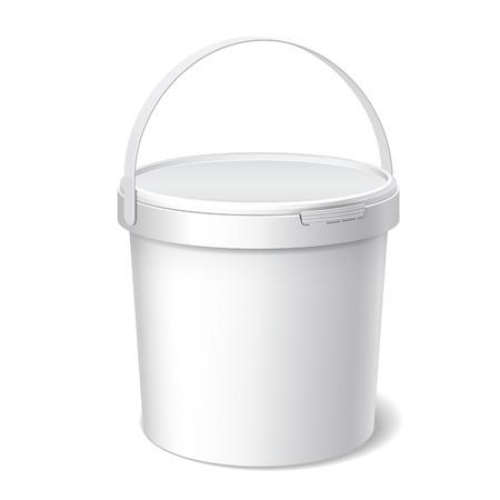 Kleine witte plastic emmer. Product Verpakking Voor eten, levensmiddel of verven, lijmen, kitten, primers, stopverf. Vector Stock Illustratie
