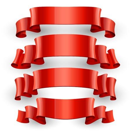 felicitation: Realistic Red Glossy vector ribbons set Illustration