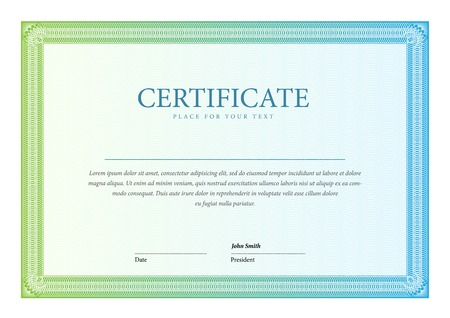 Certificate. Vector pattern that is used in currency and diplomas Vettoriali