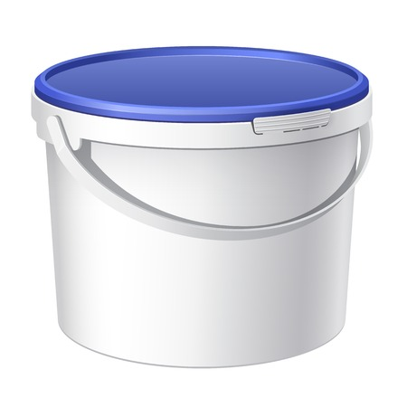 bail: Cool Realistic White plastic bucket. Vector