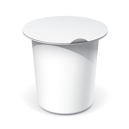pot light: Realistic White blank plastic container for yogurt, jams and other products. Vector illustration Illustration