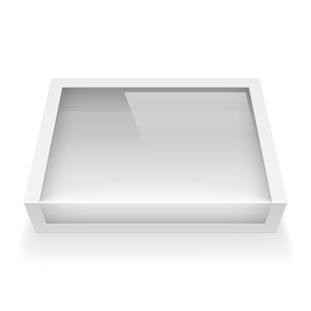 product innovation: Realistic Package Cardboard Box with a transparent plastic window. Vector illustration