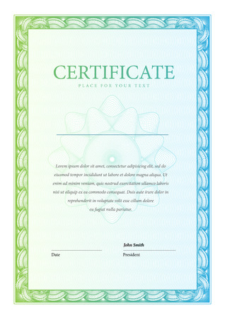 Certificate. Vector pattern that is used in currency and diplomas Illustration