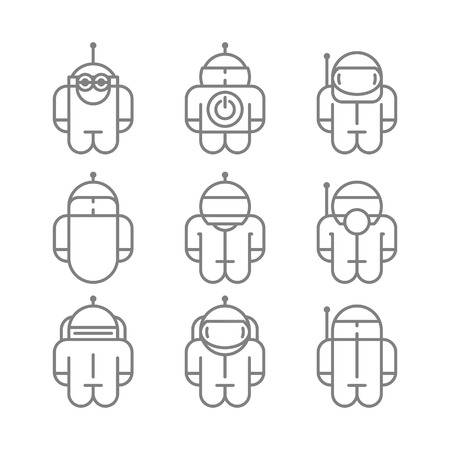 Original Robot droid Set icons . Vector illustration.