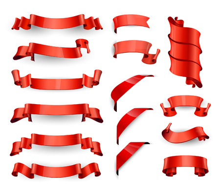 Realistic Red Glossy vector ribbons. Large set. Vectores