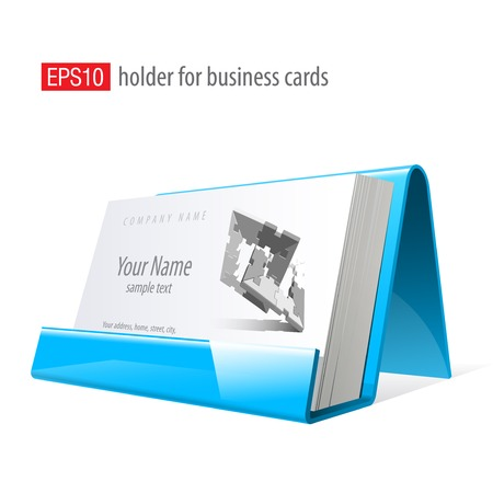 business cards: Blue Glossy holder for business cards. Vector Illustration
