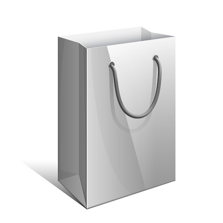 handles: Gray Paper Bag with rope handles for Gifts. Illustration
