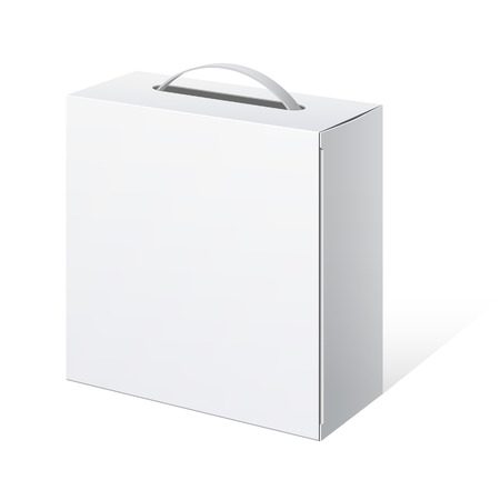 white boxes: Package Cardboard Box with a handle