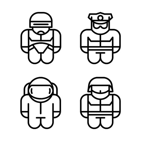 droid: Set of toy. Astronaut, Robot, Soldier, Policeman