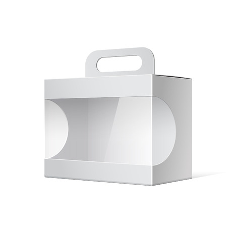 grayscale: Package Cardboard Box with a handle