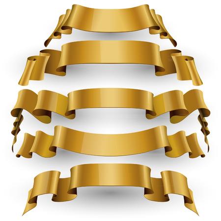 vector ribbons: Gold Red Glossy vector ribbons set vector Illustration