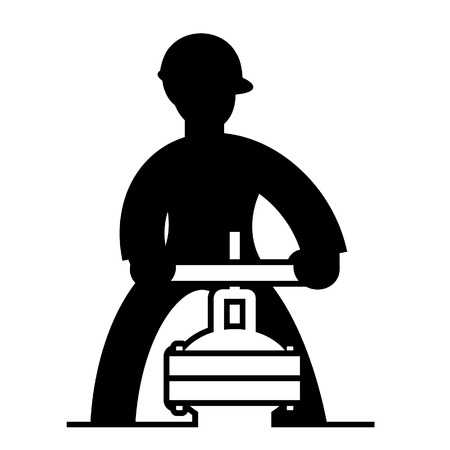 Technician working on a valve on building equipment or industrial site. black and white Icon Illustration
