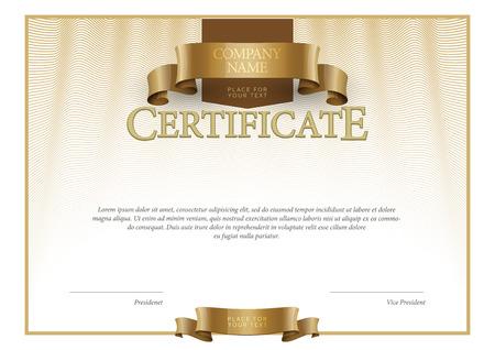 oro: Certificado Moderno. horizontal moneda diplomas plantilla. Vector Vectores