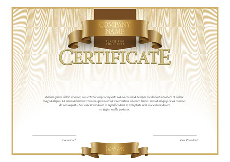 gold swirl: Modern Certificate. horizontal Template diplomas currency. Vector