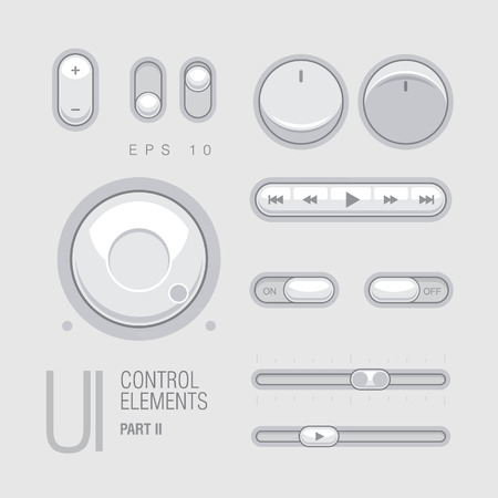 Flat Web UI Elements Design Gray. Elements Buttons Switchers,Slider