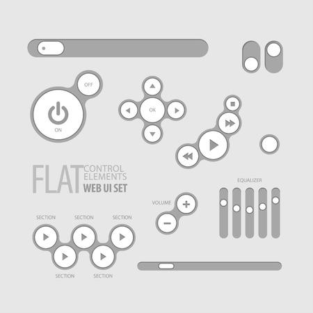 slider: Flat Web UI Elements Design Gray. Elements Buttons Switchers Slider Illustration