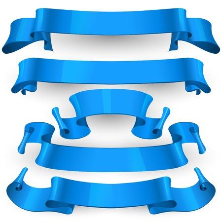 Realistic Blue Glossy vector ribbons set vector