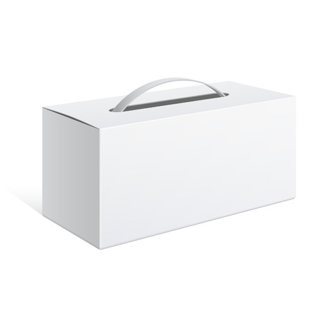 Light Realistic Package Cardboard Box with a handle. Vector illustration  イラスト・ベクター素材