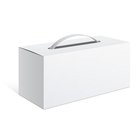 blanc: Forfait réaliste lumière Carton avec une poignée. Vector illustration Illustration
