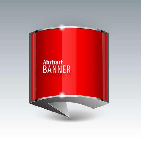 red banner: Shiny gloss red vector banner.  Illustration