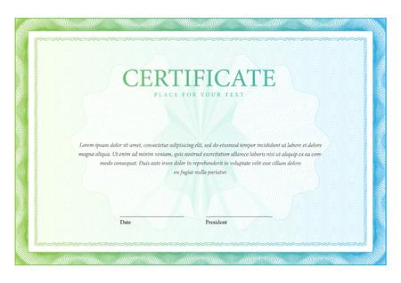 diploma: Certificado horizontal plantilla y diplomas. Vector