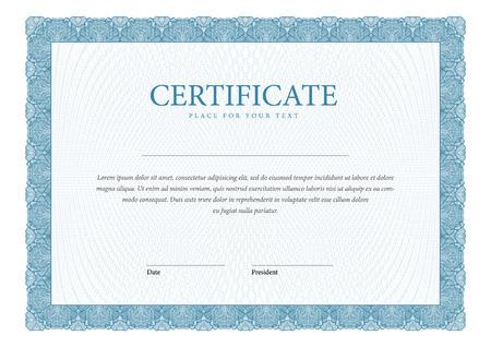 Certificaat. Template diploma, valuta. Vector