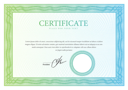 ornate border: Certificate. Template diplomas, currency. Vector