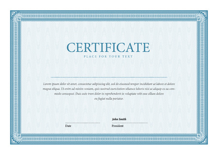 formal blue: template Certificate and diplomas
