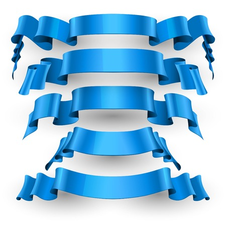 Realistic Blue Glossy vector ribbons set vector