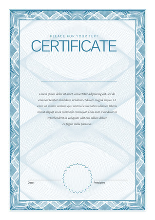 blue border: Certificate. Award background. Gift voucher. Template diplomas currency Vector illustration