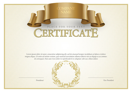 seal: Certificate. Award background. Gift voucher. Template diplomas currency Vector illustration