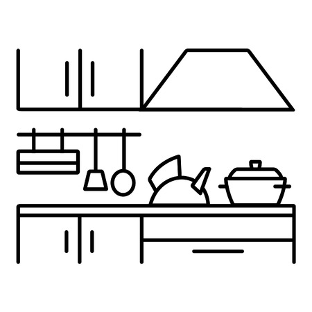 Kitchen icon. Kettle, pots and other utensils Vector Illustration