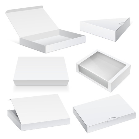 Realistic White Package Cardboard Box set. For Software, electronic device and other products. Vector illustration.