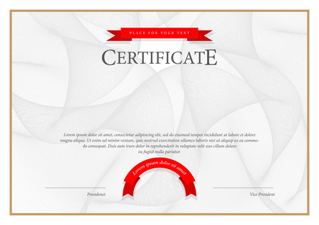 certificate  calligraphy: Certificate. Award background. Gift voucher. Template diplomas currency Vector illustration