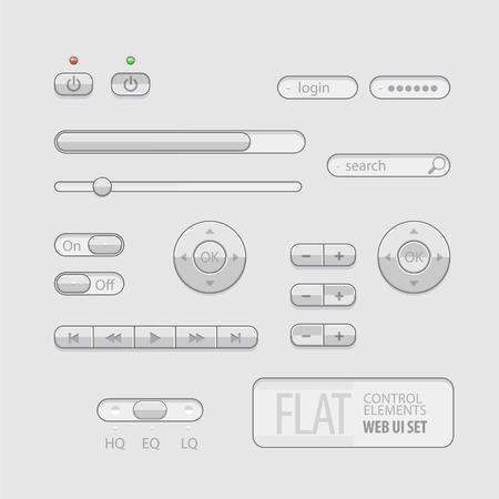 ui: Flat Web UI Elements Design Gray. Elements Buttons, Switchers, Slider