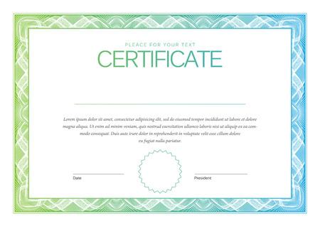certificado: Certificado. Fondo Premio. Cheque regalo. Diplomas Plantilla moneda ilustraci�n vectorial