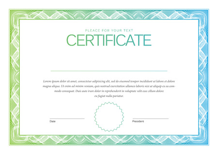honour: Certificate. Award background. Gift voucher. Template diplomas currency Vector illustration