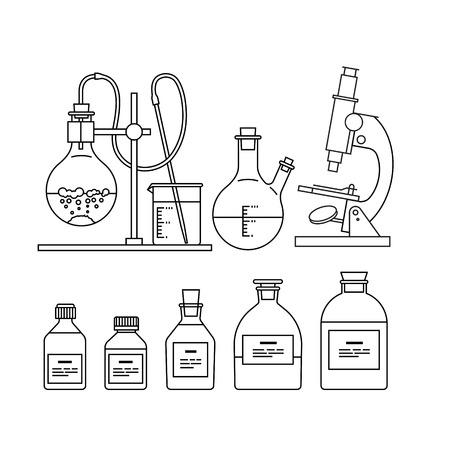 beaker: iconos cristalería química establecen. El tubo de ensayo, cubilete, frasco, stand, quemador y microscopio