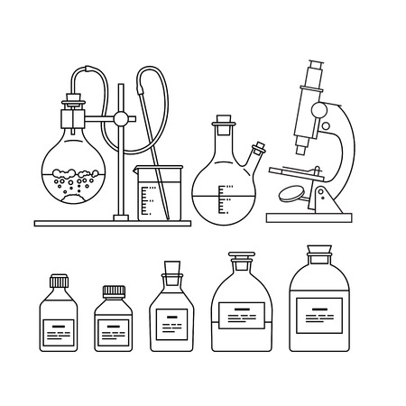 chemical glassware icons set. The test tube, beaker, flask, stand, burner and microscope