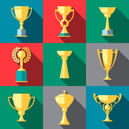 winners: Vector winner cup. Trophy flat icon set
