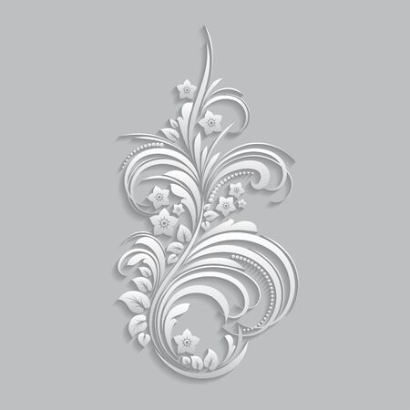 cut paper: Flowers and floral elements cut from paper. 3d style