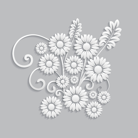 postcard background: Flowers and floral elements cut from paper. 3d style