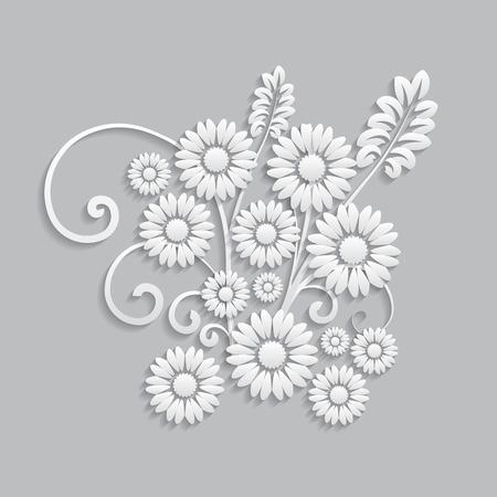 postcard: Las flores y elementos florales cortados de papel. Estilo 3d Vectores